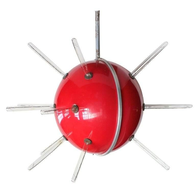 "1950s Sputnik "" Red Globe "" Attention Getter Fixture"
