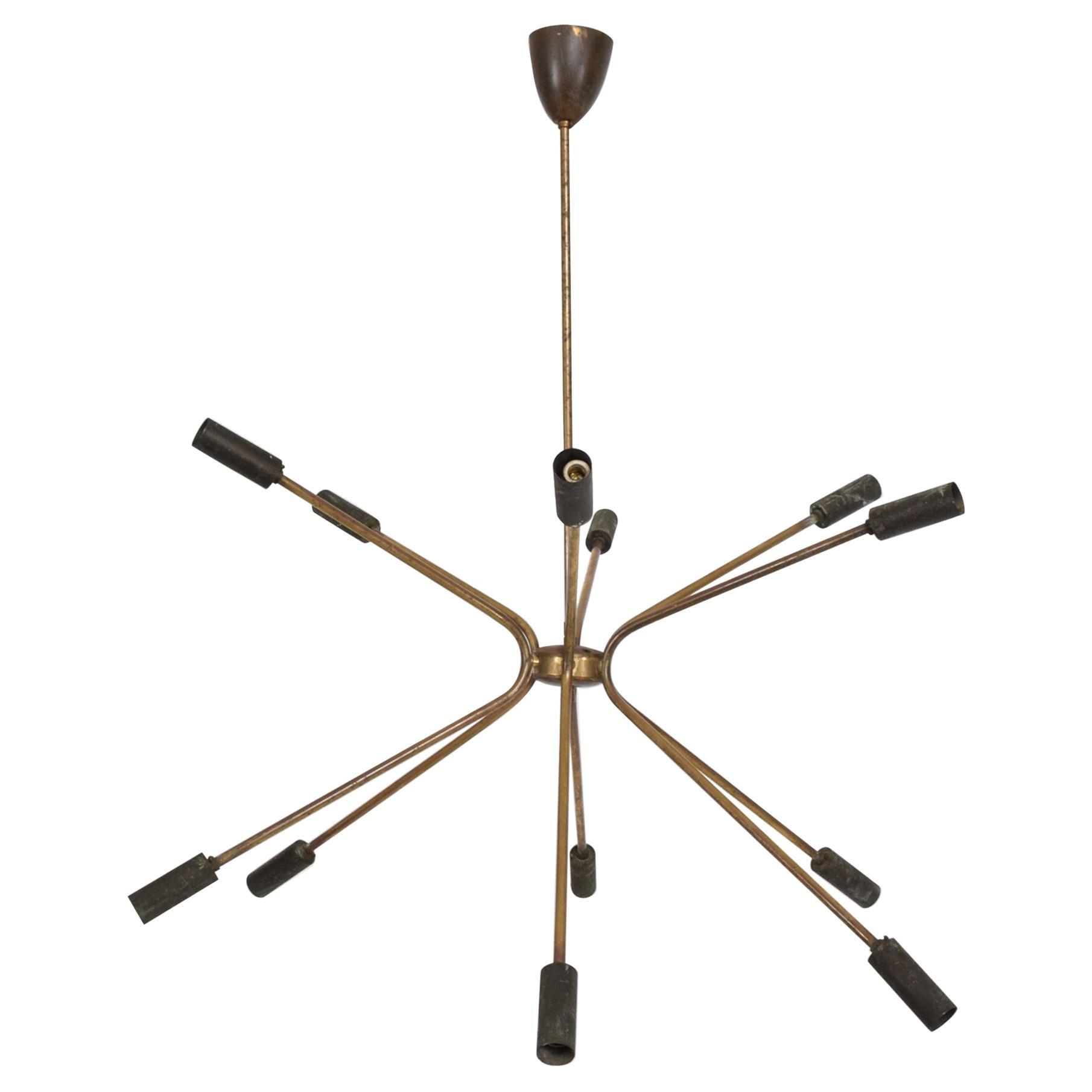 1950s Sputnik Modern by Stilnovo Patinated Brass Chandelier 8 Bulb Lamp Italy