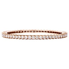 1950s Stackable Diamond Bangle Gold Bracelet