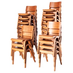 1950s Stacking Dining Chairs by ESA James Leonard, Lamstak, Set of Twenty Four