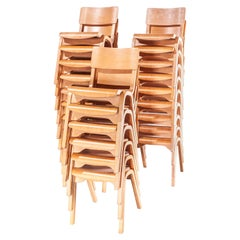 1950s Stacking Dining Chairs by Lamstak, Set of Twenty Four