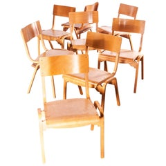 1950s Stacking Dining Chairs Made by Tecta Designed by Stafford, Set of Eight