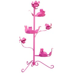 1950s Steel Rosebud Plant Stand, Refinished in Pink