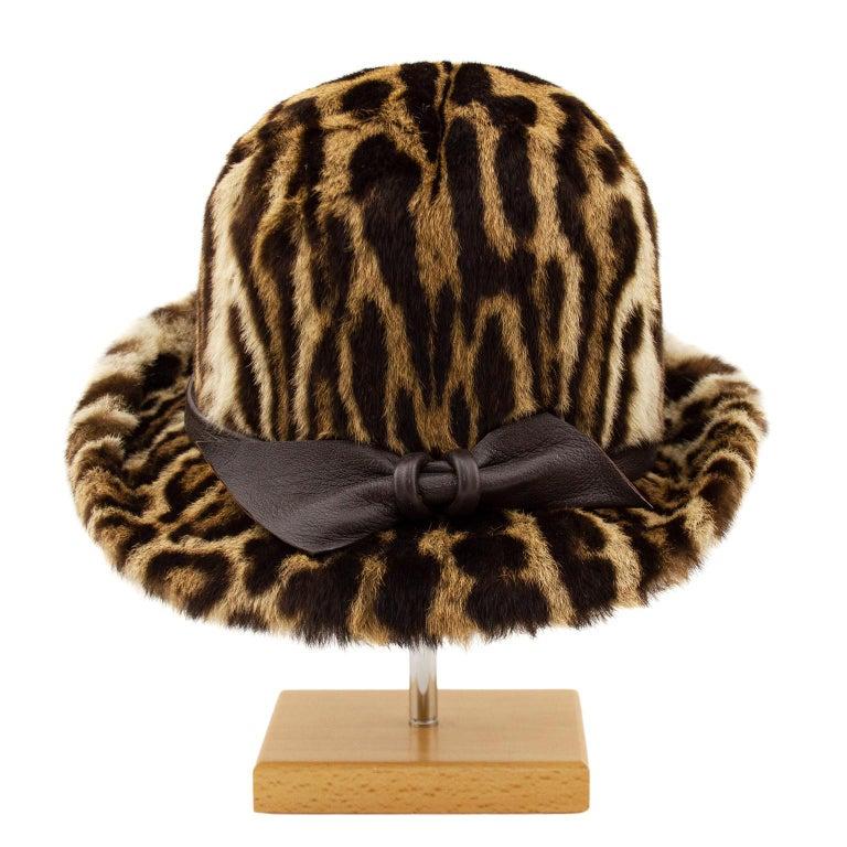 Brown 1950s Stencil Fur Faux Leopard Bowler Hat  For Sale
