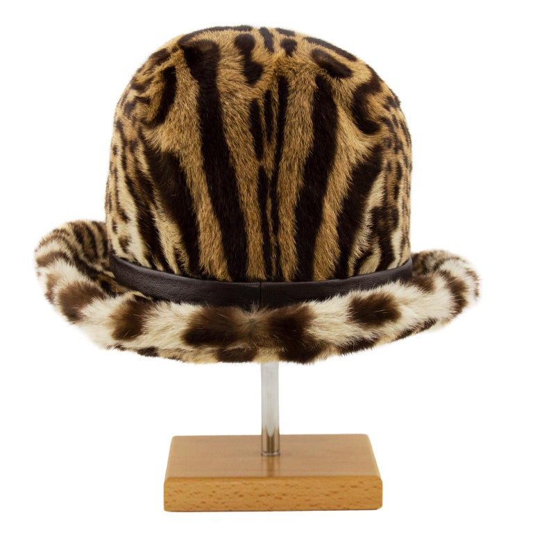 1950s Stencil Fur Faux Leopard Bowler Hat  In Good Condition For Sale In Toronto, Ontario