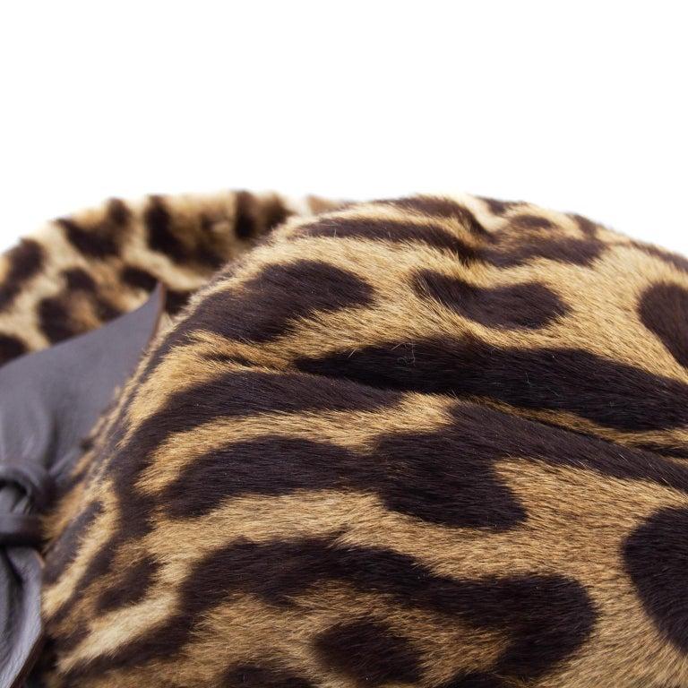 1950s Stencil Fur Faux Leopard Bowler Hat  For Sale 1