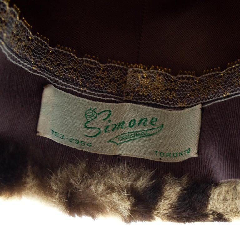 1950s Stencil Fur Faux Leopard Bowler Hat  For Sale 2