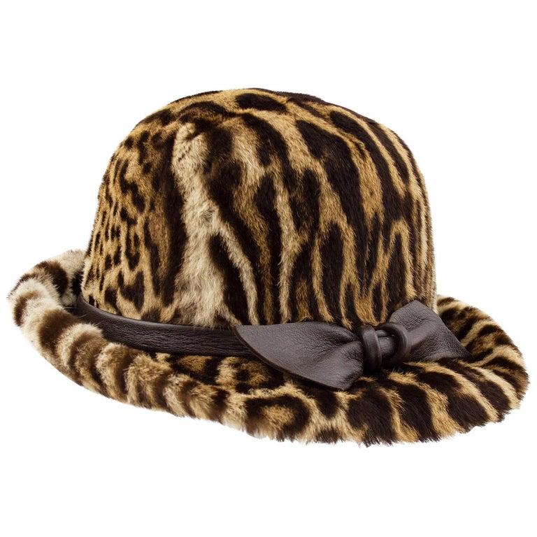1950s Stencil Fur Faux Leopard Bowler Hat  For Sale