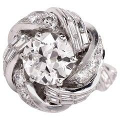 1950s Sterle 7.15 Carat European Diamond Platinum French Ring