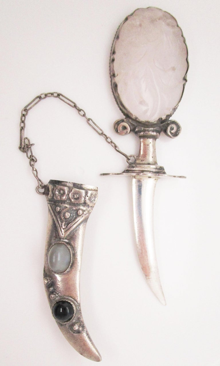 1950s Sterling Silver Quartz Glass and Black Onyx Sword Brooch In Excellent Condition For Sale In Lexington, KY