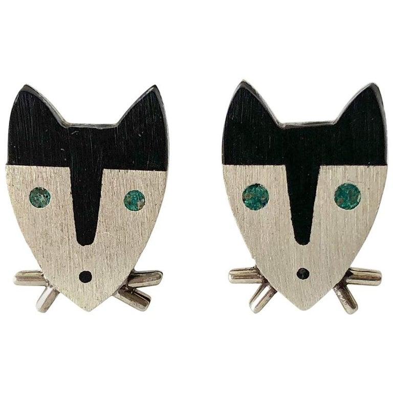 1950s Sterling Silver Wood Modernist Cat Cufflinks For Sale