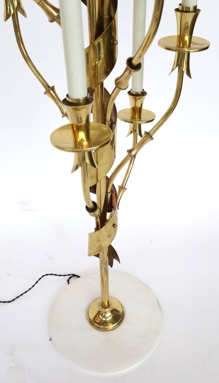 1950s Stilnovo Brass Candelabra Floor Lamp with Marble Base In Good Condition For Sale In Los Angeles, CA