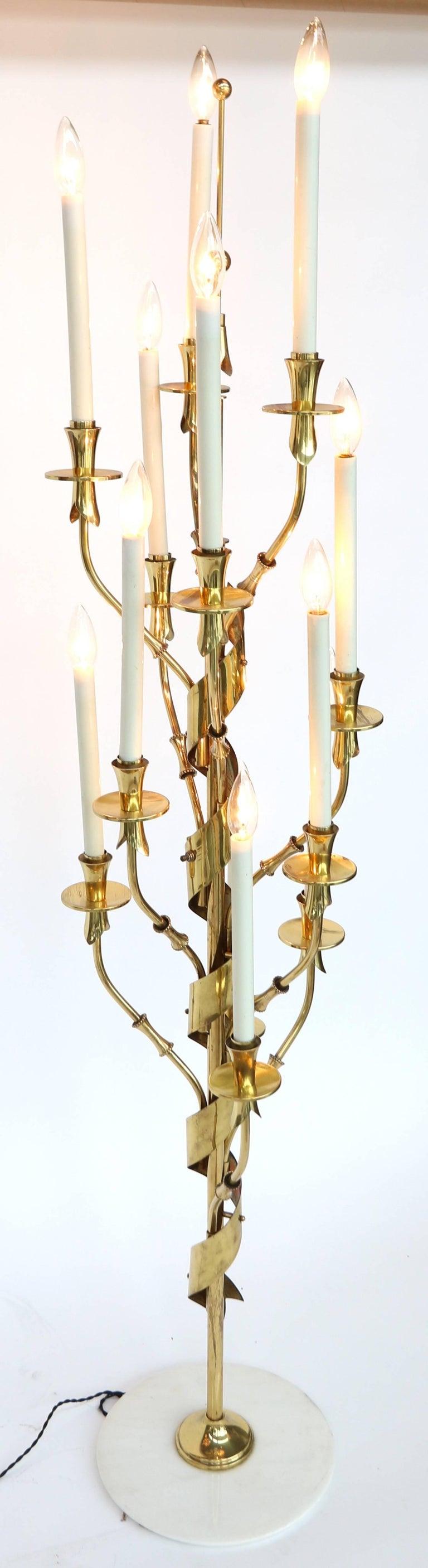 Mid-20th Century 1950s Stilnovo Brass Candelabra Floor Lamp with Marble Base For Sale