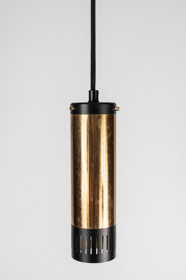 1950s Stilnovo Cylindrical Pendant with Yellow Label In Good Condition For Sale In Glendale, CA