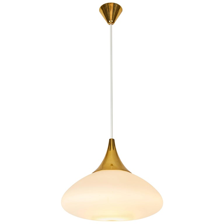 1950s Stilnovo Glass and Brass Pendant For Sale