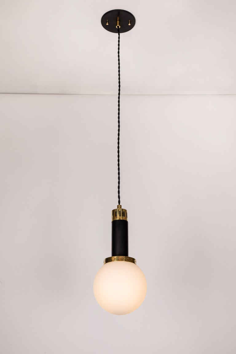 Mid-Century Modern 1950s Stilnovo Glass and Brass Pendants For Sale