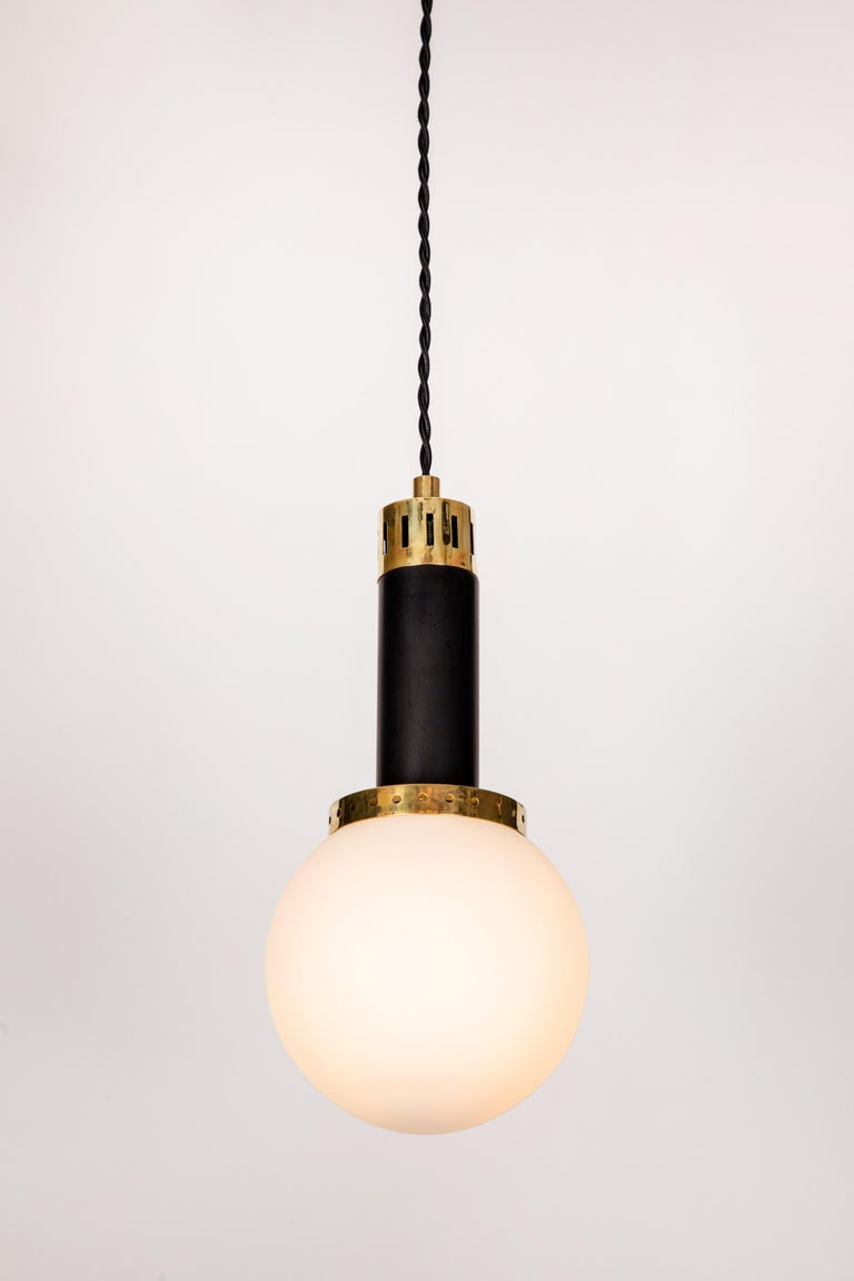 Faceted 1950s Stilnovo Glass and Brass Pendants For Sale