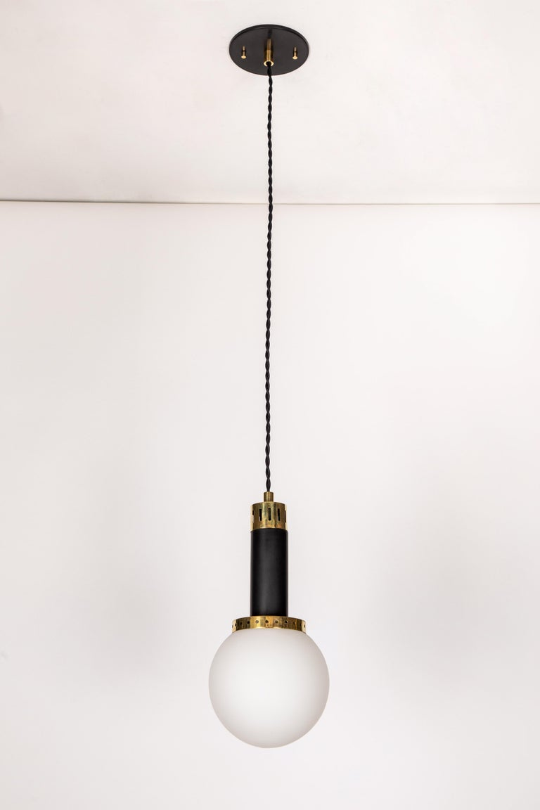1950s Stilnovo Glass and Brass Pendants In Good Condition For Sale In Glendale, CA