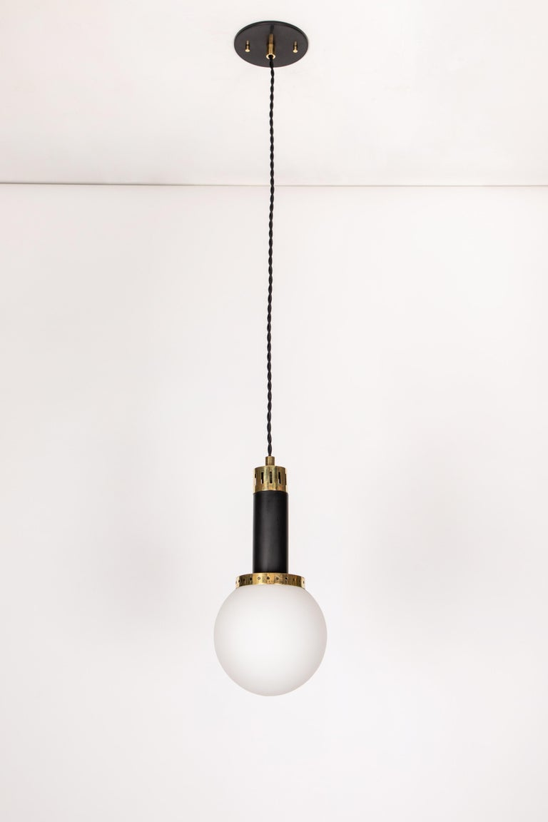 Mid-20th Century 1950s Stilnovo Glass and Brass Pendants For Sale