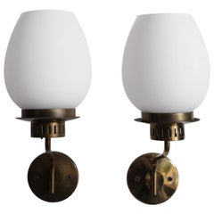 1950s Stilnovo Italian Glass and Brass Sconces Wall Lamps