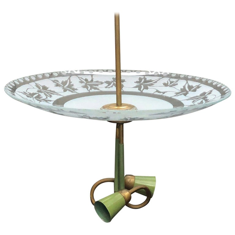 1950S Stilnovo Mid-Century Modern Brass and Glass Pendant For Sale
