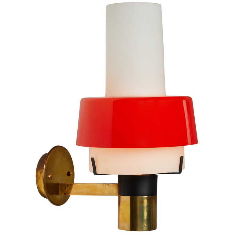 1950s Stilnovo Model 2079/1 Brass and Glass Sconce with Original Label For Sale