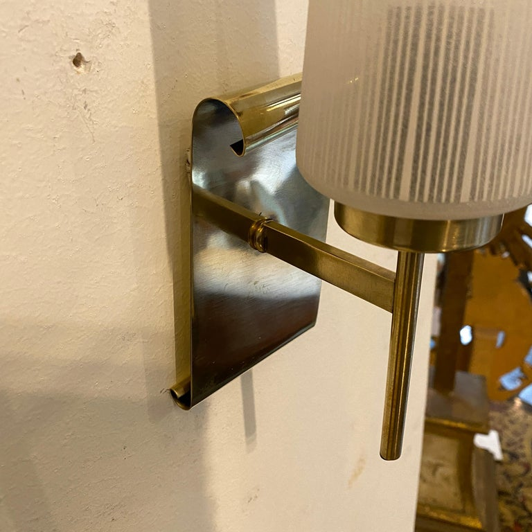 1950s Stilnovo Style Mid-Century Modern Set of Two Brass and Glass Wall Sconces For Sale 1