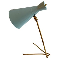 1950s Stilux Milano Light Blue and brass Table Lamp