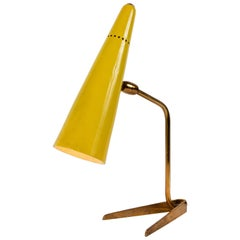 1950s Stilux Milano Yellow Conical Table Lamp