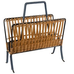 1950s Stitched Leather and Rattan Magazine Rack by Jacques Adnet