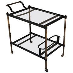 1950s Stitched Leather Bar Cart by Jacques Adnet