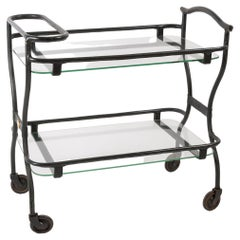 1950's Stitched Leather Bar Cart by Jacques Adnet