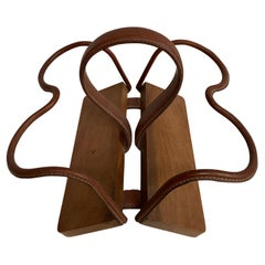 1950's Stitched Leather Bottles Holder by Jacques Adnet