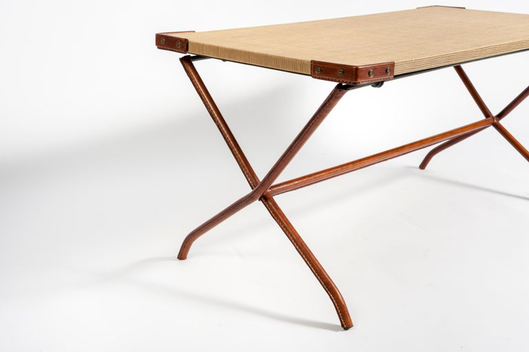 French 1950s Stitched Leather Cocktail Table by Jacques Adnet For Sale