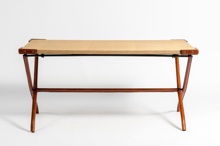 1950s Stitched Leather Cocktail Table by Jacques Adnet For Sale 1