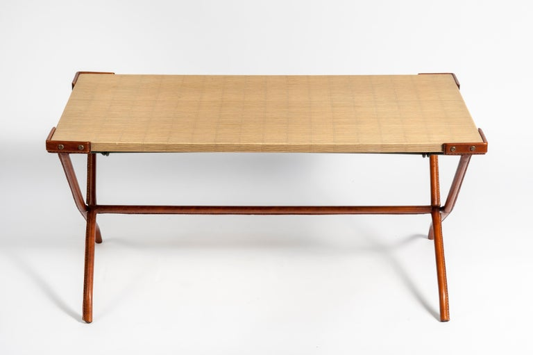1950s Stitched Leather Cocktail Table by Jacques Adnet For Sale 2