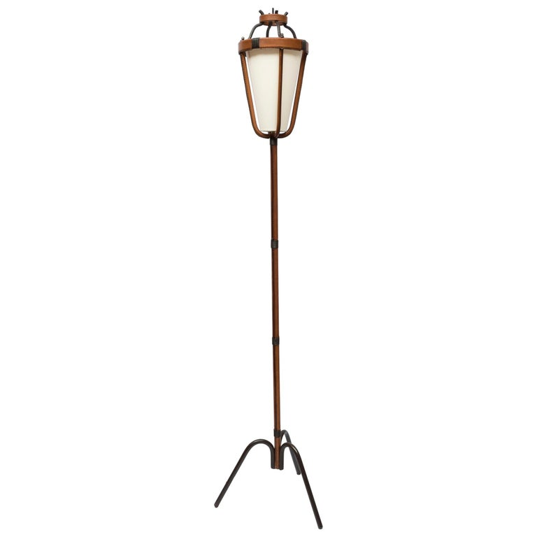 1950s stitched leather floor lamp by Jacques Adnet,