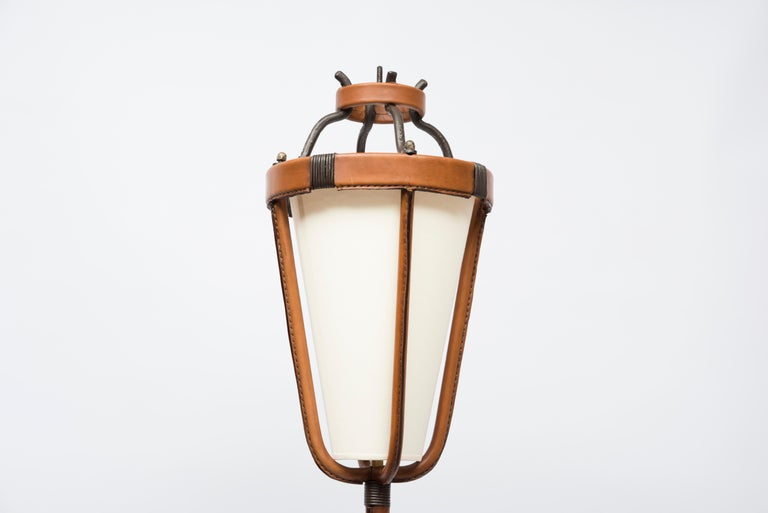 European 1950s Stitched Leather Floor Lamp by Jacques Adnet For Sale