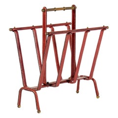 1950s Stitched Leather Magazine Rack by Jacques Adnet