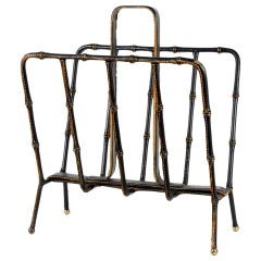 1950s Stitched Leather Magazines Rack by Jacques Adnet