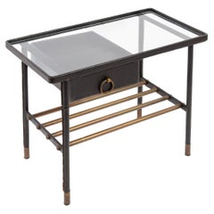 1950's Stitched Leather Side Table by Jacques Adnet