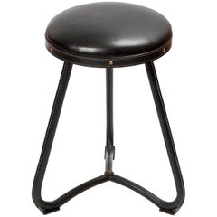 1950s Stitched Leather Stool by Jacques Adnet