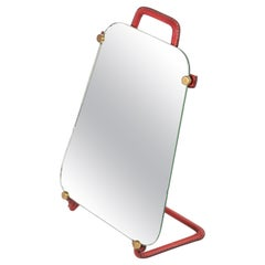 1950's Stitched Leather Table Mirror by Jacques Adnet