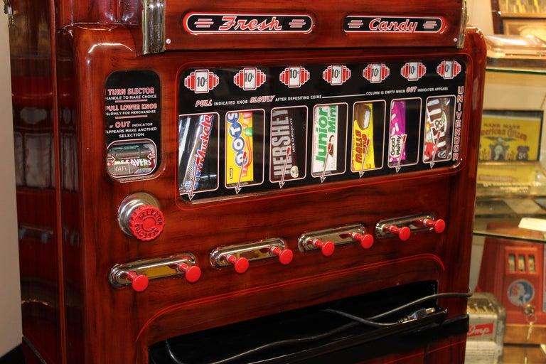 Mid-Century Modern 1950s Stoner Univendor Theater Candy Eight Pull Dispenser Vending Machine For Sale