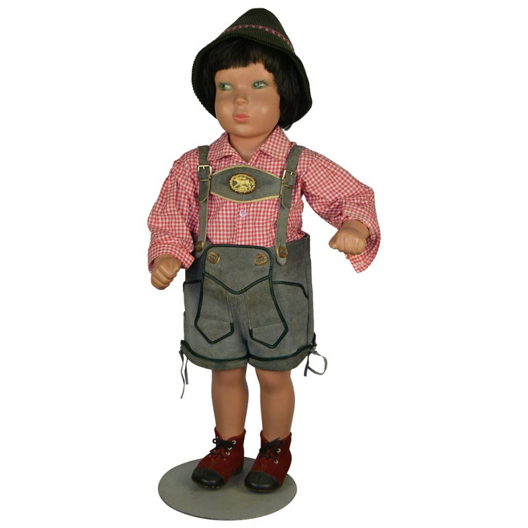 1950s Store Display Mannequin Child, Tyrol Clothing, Kathe Kruse Style For Sale