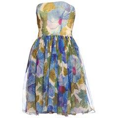 1950'S Blue & Green Floral Silk Chiffon Strapless Garden Party Dress