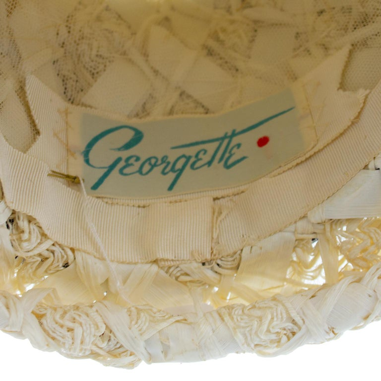 Women's 1950s Straw, Satin and Pearl Hat  For Sale