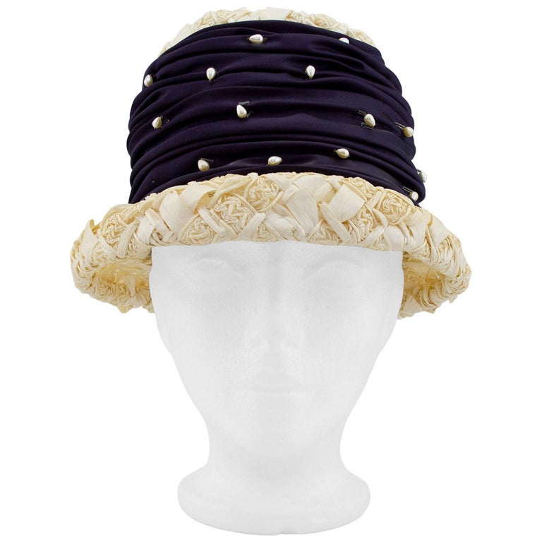 1950s Straw, Satin and Pearl Hat  For Sale