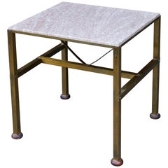 1950s Studio Craft Brass Stone Table Mid-Century Cabinmodern Plant Stand