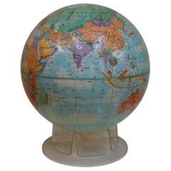 1950's Study Globe with Topographical Relief on Clear Plastic Pedestal